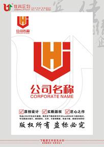 Hj英文字母盾牌标志设计