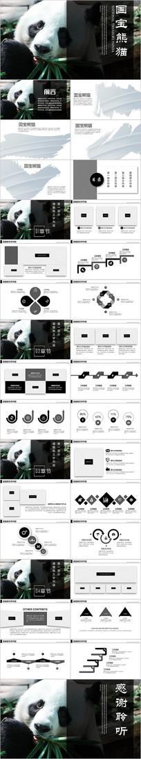 动物保护国宝大熊猫四川熊猫简介PPT模板