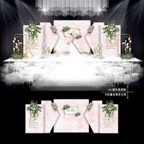 粉色水彩大理石纹婚礼效果图设计婚庆舞台