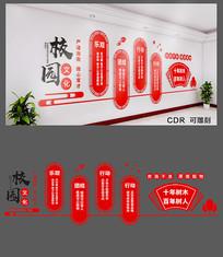 红色校园标语文化墙设计
