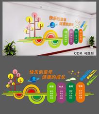 卡通精美校园文化墙设计