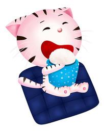 可爱卡通手绘动物吃饭猫
