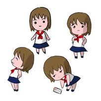 可爱女学生表情包