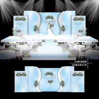 蓝白色梦幻主题婚礼效果图设计婚庆舞台背景 PSD