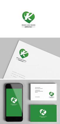 绿色保健品心脏K字母标志设计 CDR