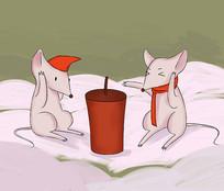 手绘2020鼠年老鼠放烟花鞭炮春节插画