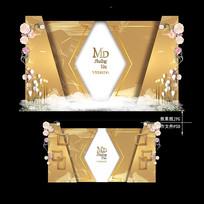 香槟金色大理石纹婚礼迎宾区效果图设计