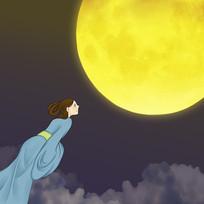 原创手绘嫦娥奔月中秋节插画元素