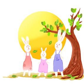 原创手绘兔子一家团聚赏月中秋节插画