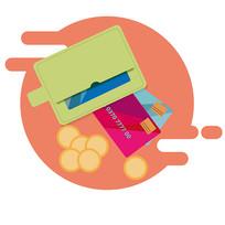 原创元素扁平化钱包银行卡