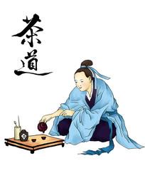原创元素茶道卡通手绘古代读书人物国学喝茶