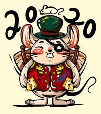 原创元素潮流涂鸦2020旅行鼠