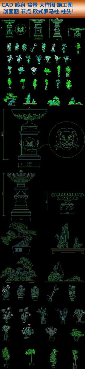 CAD喷泉盆景大样图施工图剖面图