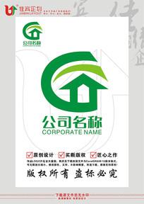 C字母房子图形LOGO设计 CDR