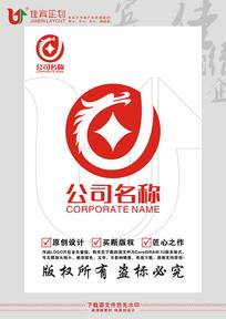 L英文字母龙图形金融标志设计 CDR