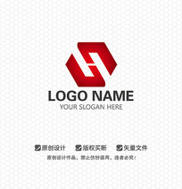 SH字母红色大气LOGO设计