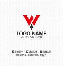 W字母LOGO设计 AI
