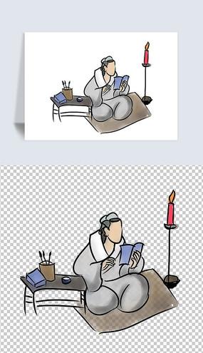 传统国学文化插画勤奋