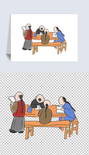传统国学文化插画学生