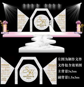 大理石几何婚礼背景板设计