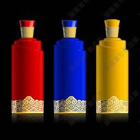 红黄蓝传统水纹酒瓶效果图