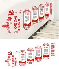 楼梯不忘初心党建展板设计
