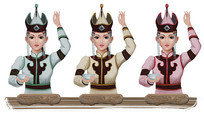 蒙古女孩插画设计