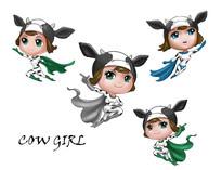 奶牛女孩卡通设计