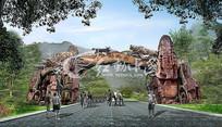 森林动物园假山大门入口效果图