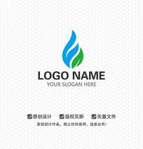 水滴绿叶LOGO设计