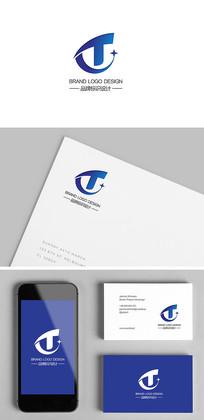 数字IT科技T字母标志设计