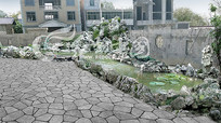 庭院太湖石假山景观PSD效果图