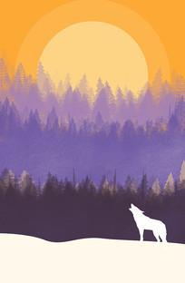 原创H5页面设计夜晚月亮中秋节风景插画