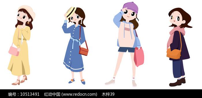 原创甜美可爱女孩全身手绘插画图片