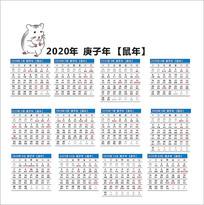 2020年鼠年台历日期
