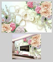 3D立体玉雕浮雕牡丹玫瑰花背景墙图片