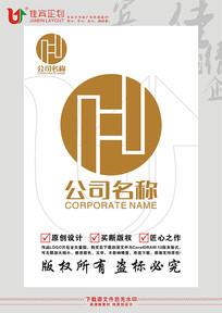 H英文字母金融钱币标志设计