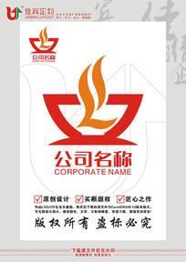 L英文字母碗筷饭碗标志设计