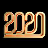 大气红金质感鼠年2020立体艺术字