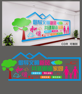 共建和谐社区文化墙设计