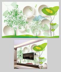 清新手绘树客厅电视背景墙图片