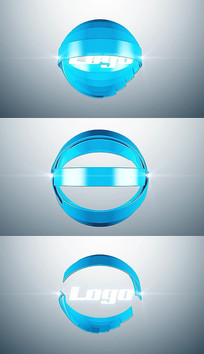 简洁3d圆环圆形标志logo片头pr模板