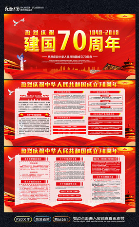 2019华诞建国70周年展板