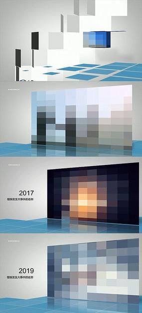 方块主题商务现代企业发展时间线模板