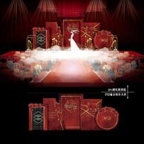 红色复古主题婚礼欧式婚庆舞台背景