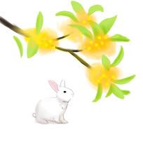 简约手绘月兔圆月传统中秋节元素