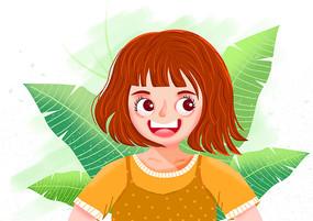 可爱女孩插画设计