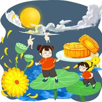 手绘福娃月饼月亮荷叶传统中秋节海报元素