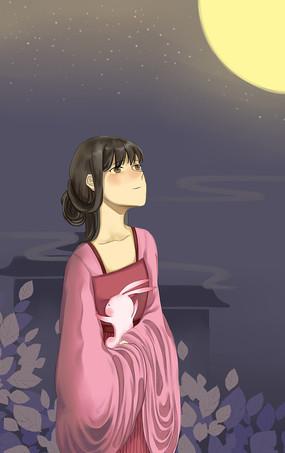 手绘漂亮美女思乡中秋节宣传海报插画