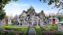 庭院假山喷泉景观效果图